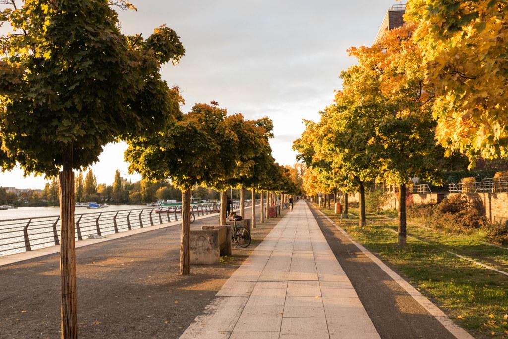 Auf der Promenade an der Rummelsburger Bucht im Herbst