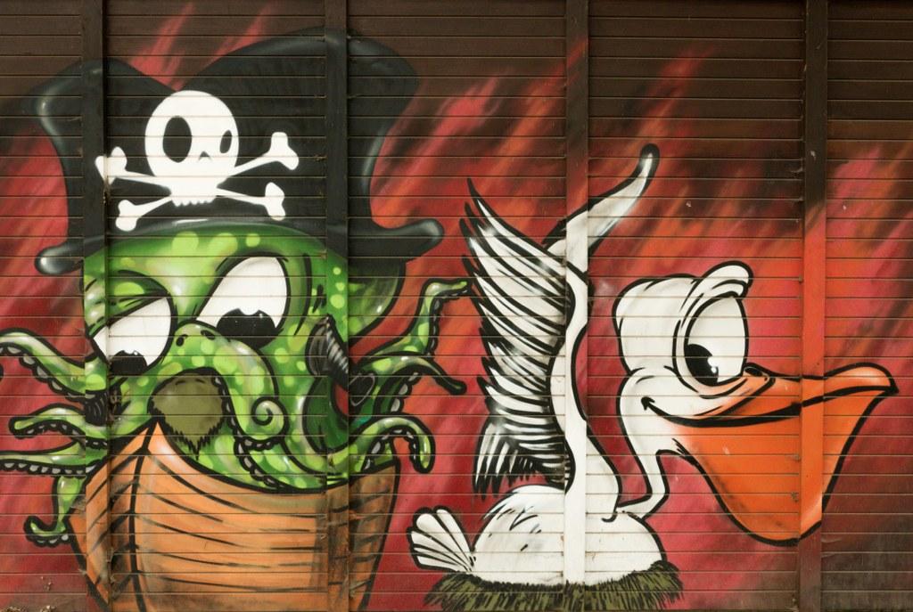 Graffiti an der Anlegestelle Reiswerder